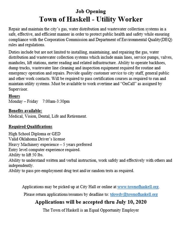 Job Opening - Town of Haskell - Utility Worker